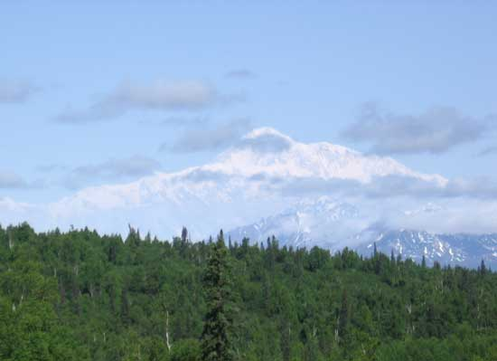 long distant view of Denali, Mt. McKinley