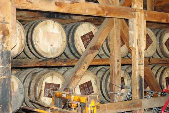 image barrels of bourbon in the warehouse